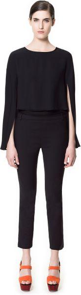 Zara Trousers With Side Split In Black Lyst