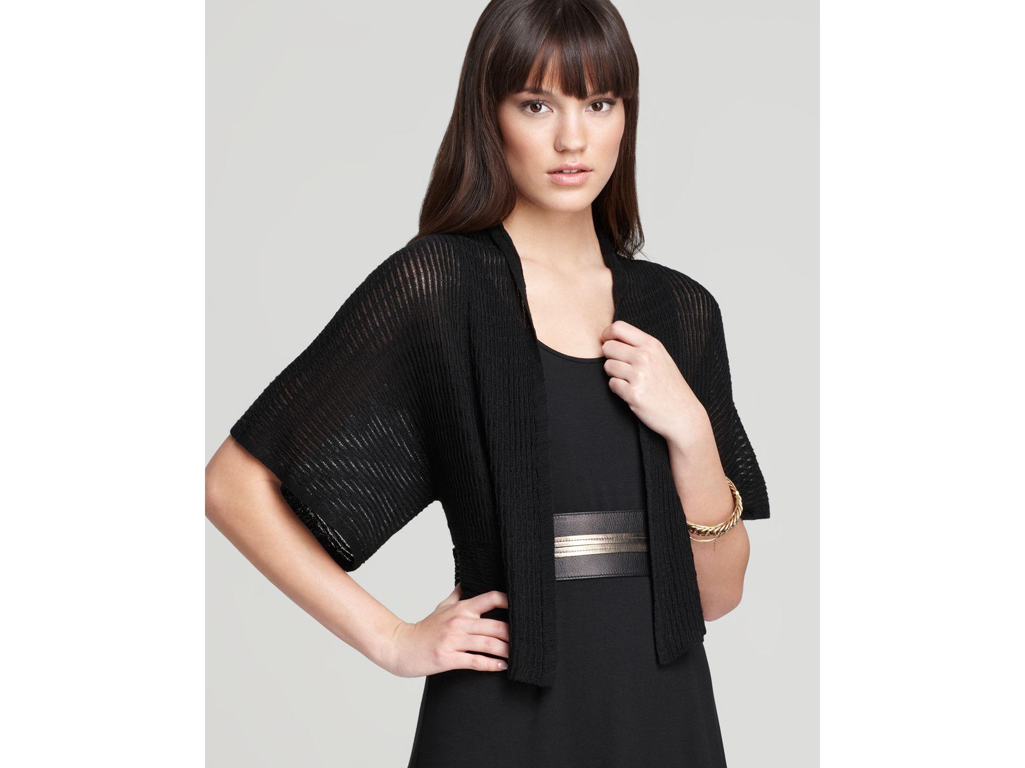 Eileen fisher Cropped Kimono Cardigan in Black | Lyst