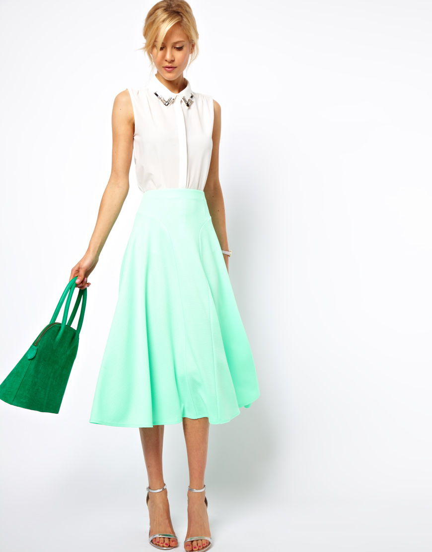 Asos collection Asos Midi Skirt in Texture in Green | Lyst