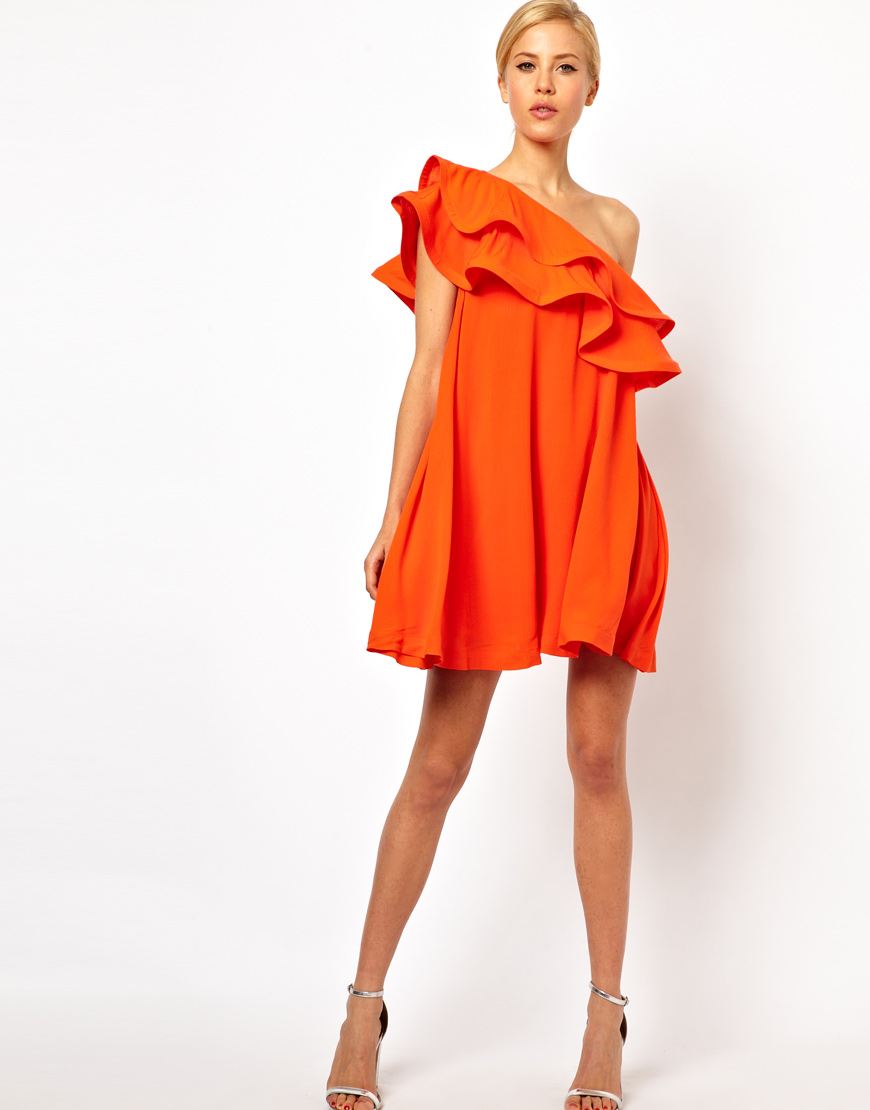 c31a46fabf1 ASOS Sundress Dress with Extreme One Shoulder Frill in Natural - Lyst