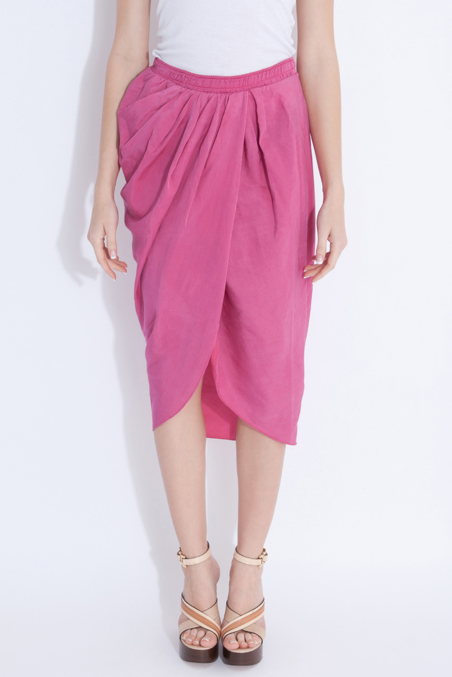 lyst - clu shirred sarong skirt in pink