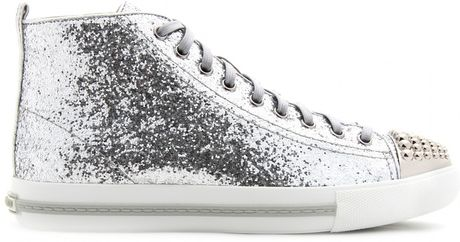 miu miu glitter hightop sneakers in gray argento lyst. Black Bedroom Furniture Sets. Home Design Ideas
