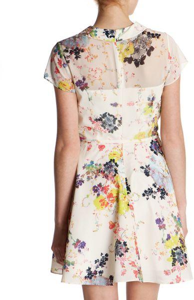 Ted Baker Gracel Collar Detail Dress In White Cream Lyst