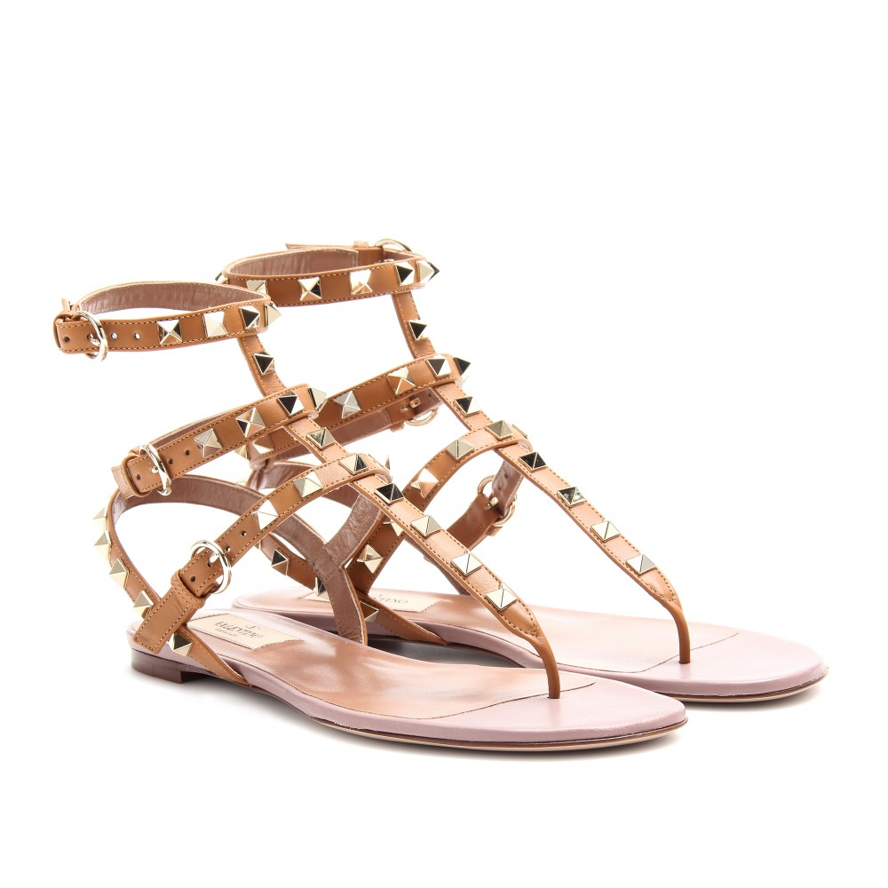 Valentino Rockstud Leather Sandals in Natural