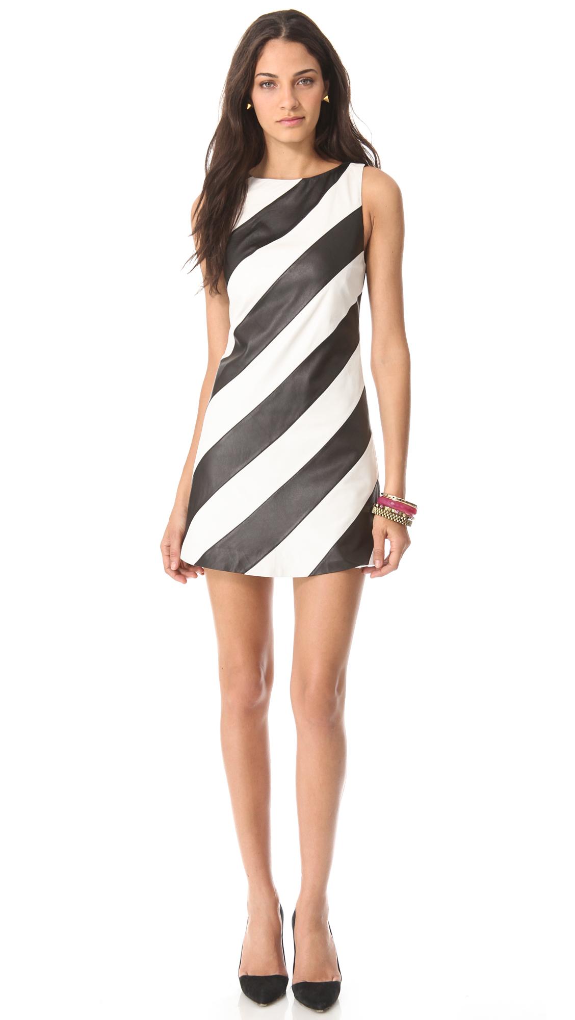 Alice Olivia Leather Stripe A Line Dress In Black White Lyst