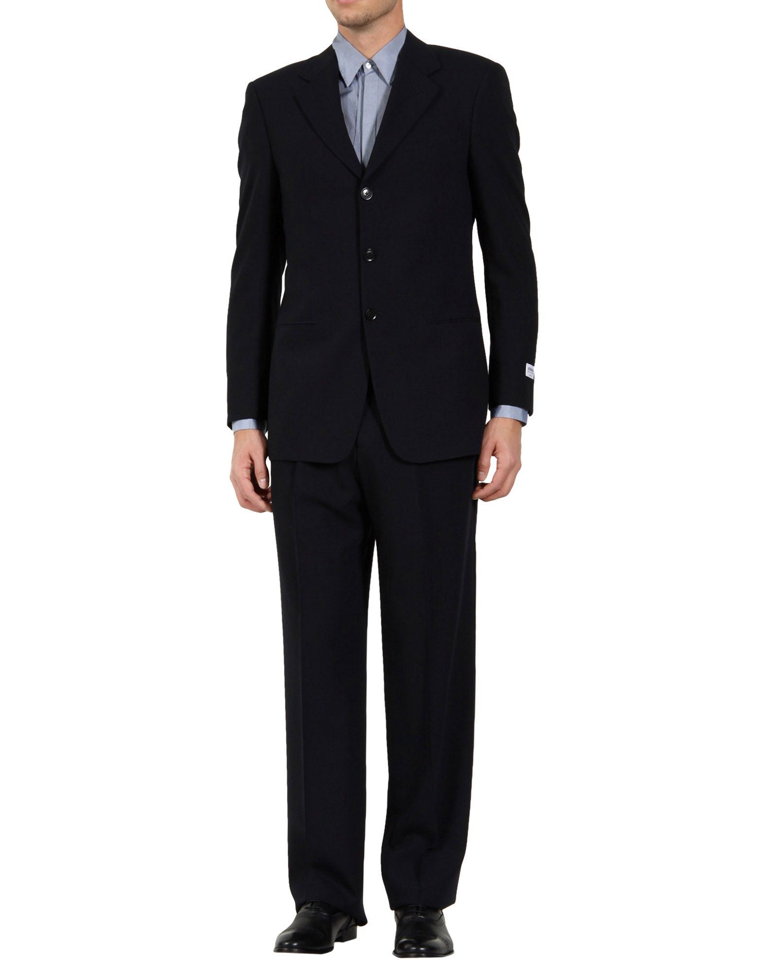 lyst armani wool twobutton suit in blue for men