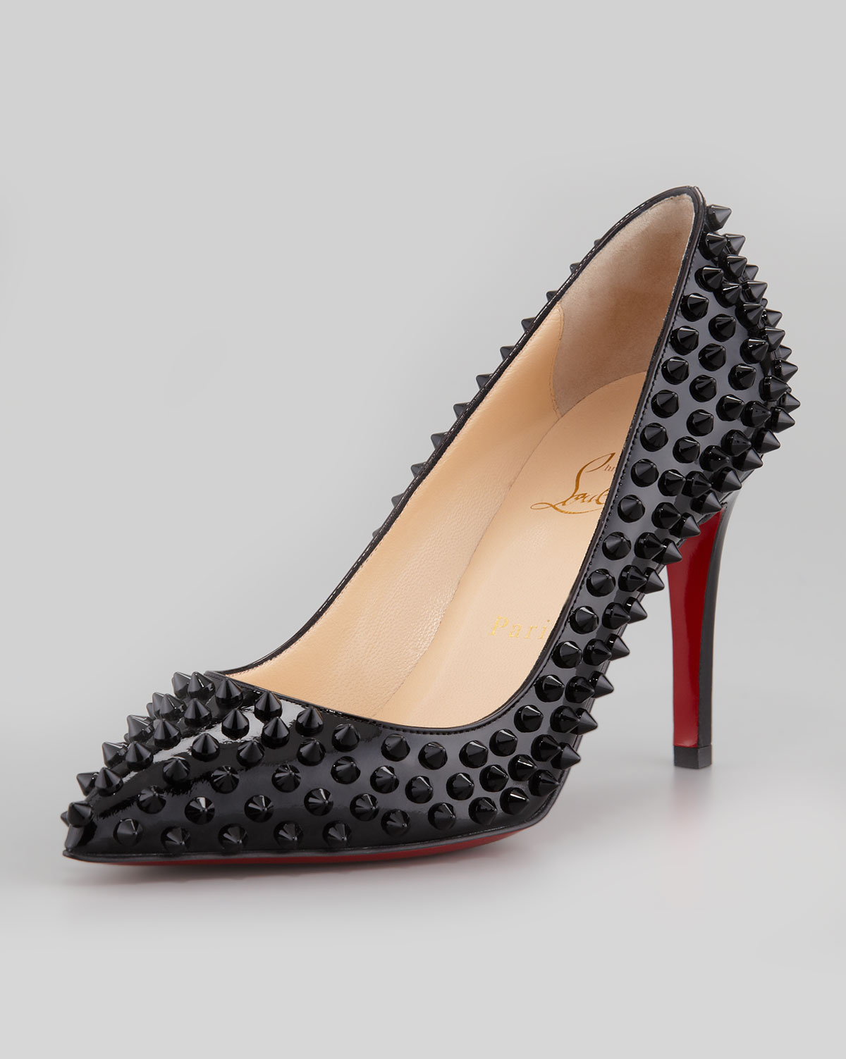 Lyst Christian Louboutin Studded Patent Leather Pumps In