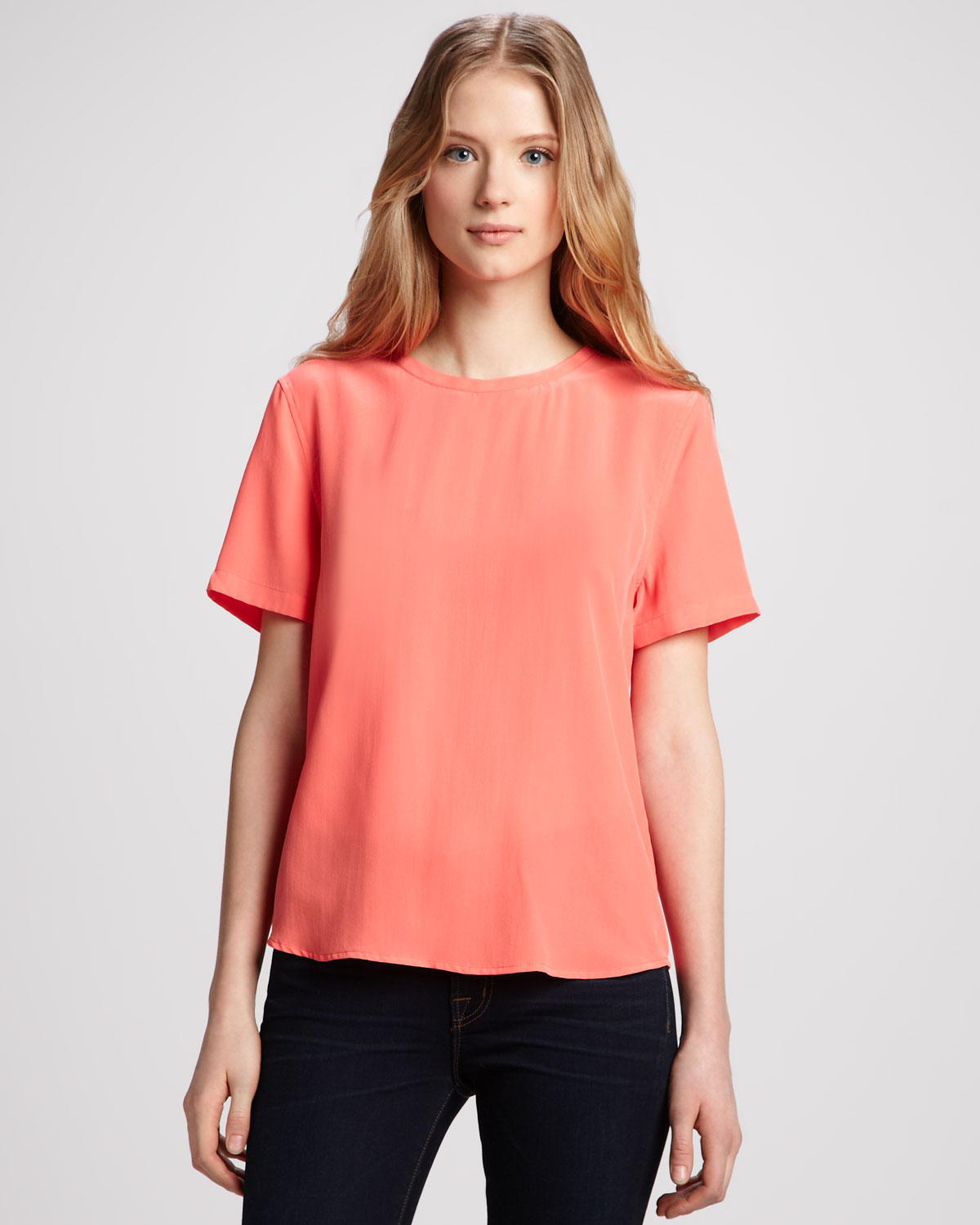 Equipment Riley Shortsleeve Silk Blouse in Orange | Lyst