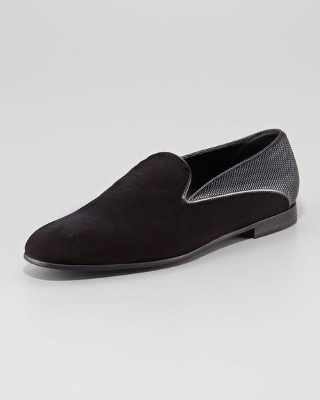 Giorgio Armani Velvet metallic Formal Shoe in Black for ...