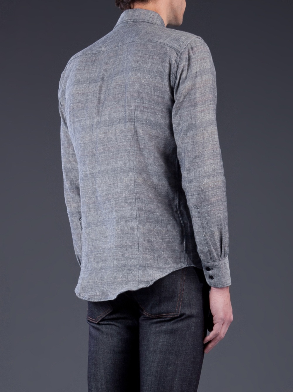 Naked & Famous Quilted Slim Shirt in Grey (Blue) for Men