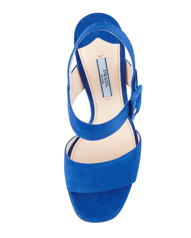 Lyst Prada Suede Blockheel Sandals In Blue