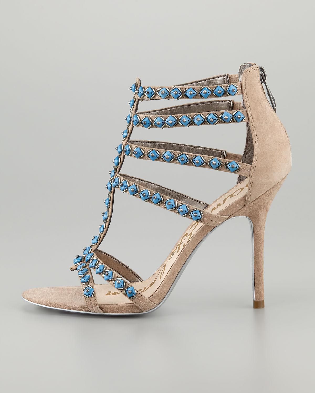 8a7c5055cd3194 Lyst - Sam Edelman Alina Beaded Sandal in Blue