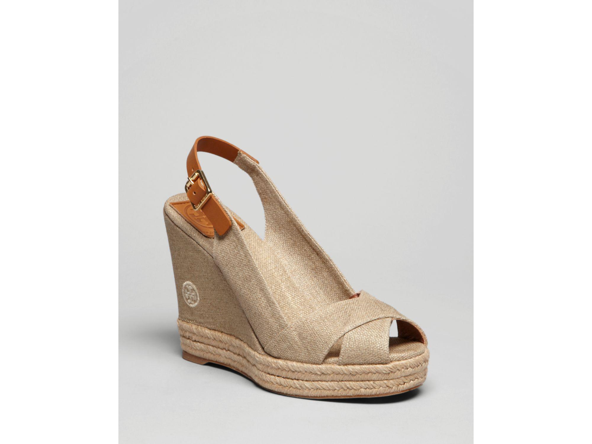 ab4f3c14b7 Tory Burch Peep Toe Platform Wedge Sandals Beller Slingback in Brown ...