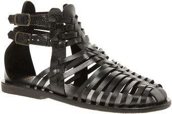Asos Asos Fiction Leather Gladiator Flat Sandals - Lyst