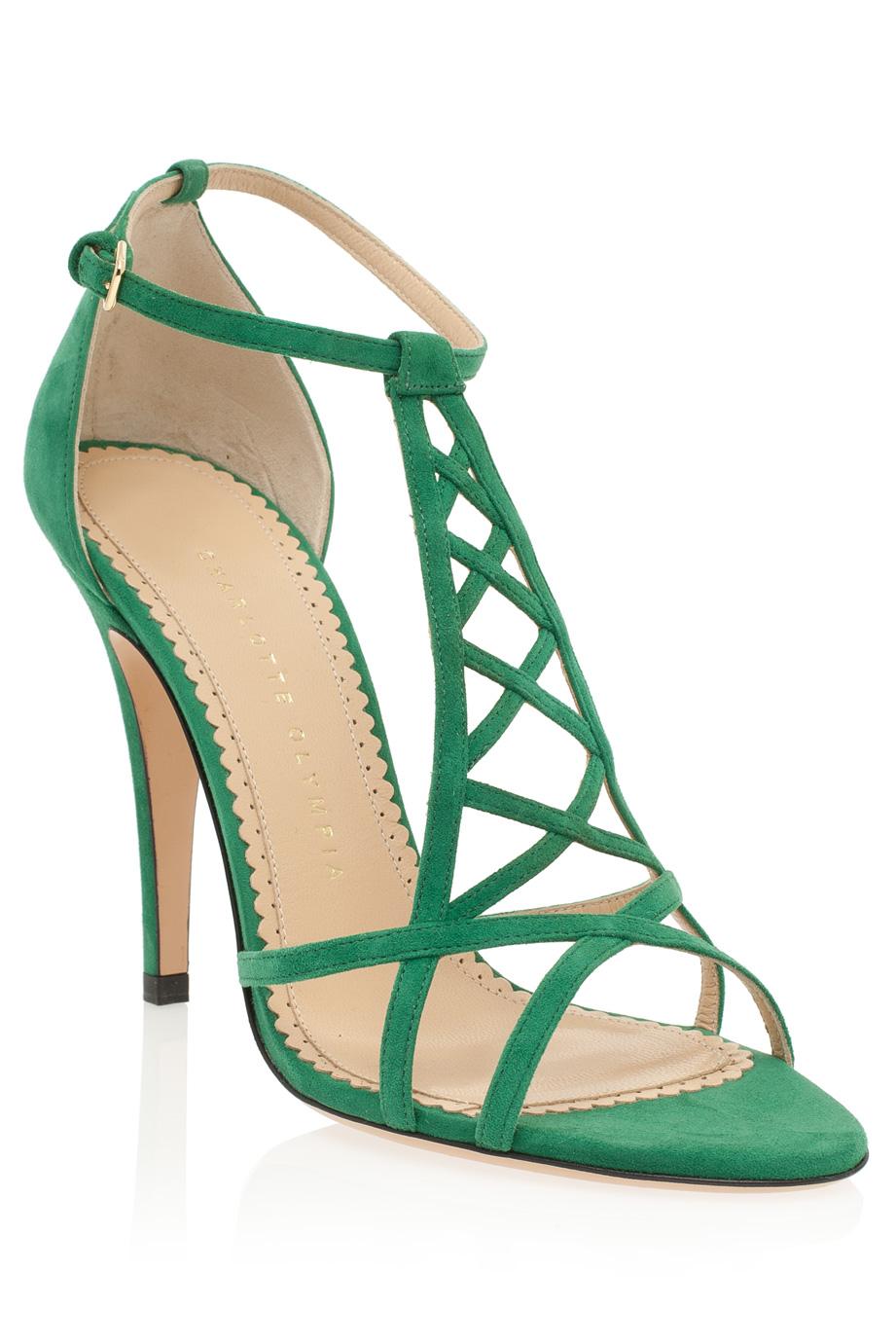Strappy Green Heels