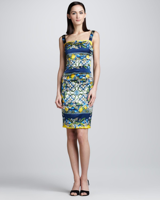 Dolce Amp Gabbana Lemon And Tile Print Tank Dress In Blue