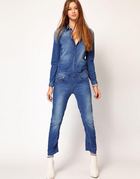 g star raw gstar denim jumpsuit in blue midwash lyst. Black Bedroom Furniture Sets. Home Design Ideas