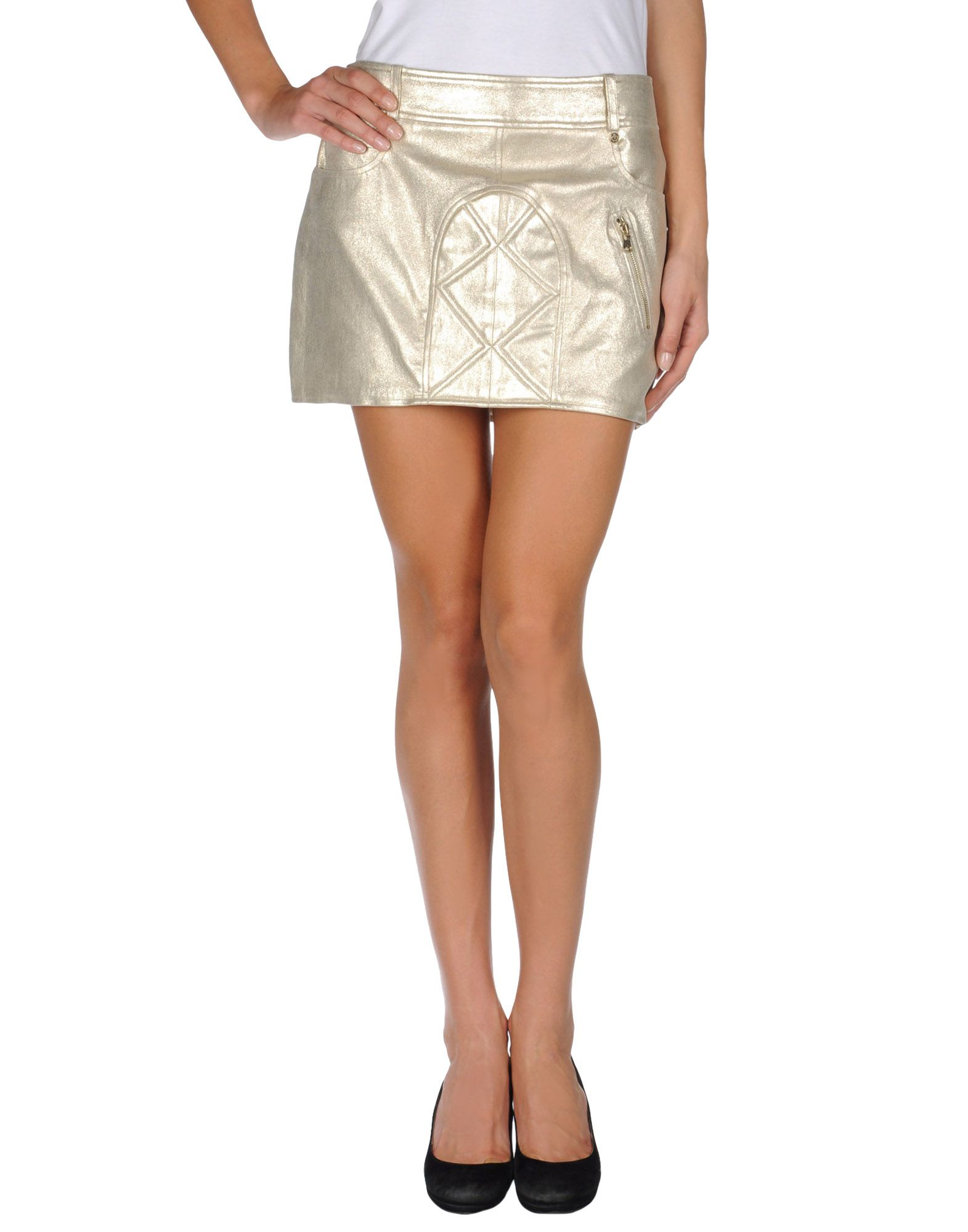 irf 233 leather skirt in gold platinum save 19 lyst