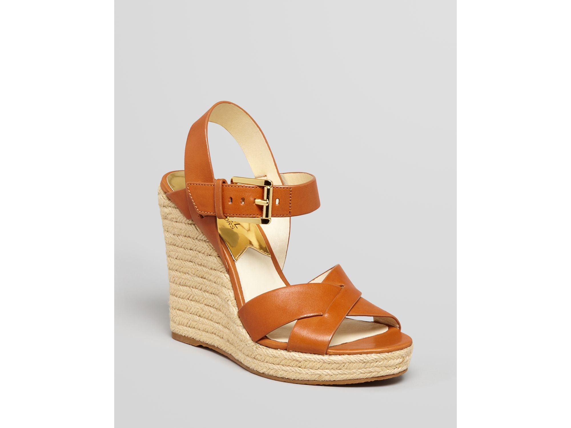 a3e824e6190 MICHAEL Michael Kors Brown Espadrille Platform Wedge Sandals Viola