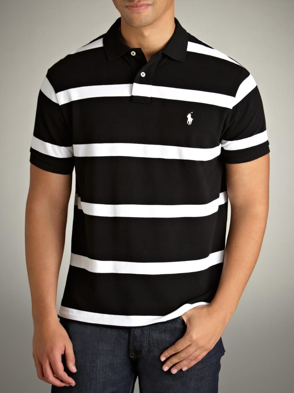 Polo Ralph Lauren Custom Fit Stripe Polo Shirt in Black ...