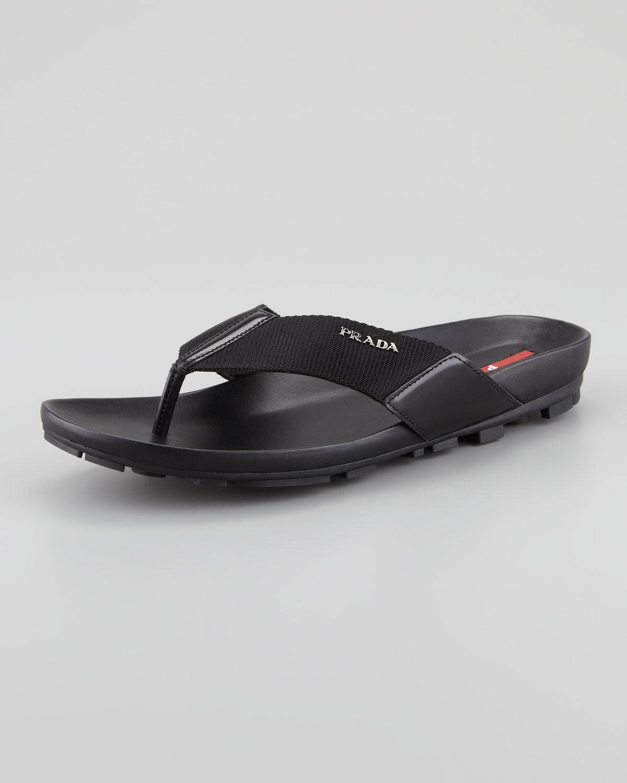 a3d86506d Lyst - Prada Nylon Thong Sandal in Black for Men
