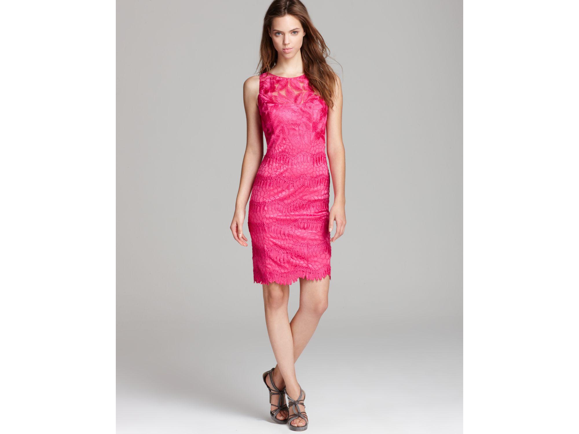Sue Wong Short Dress Lace In Purple Fuchsia Lyst