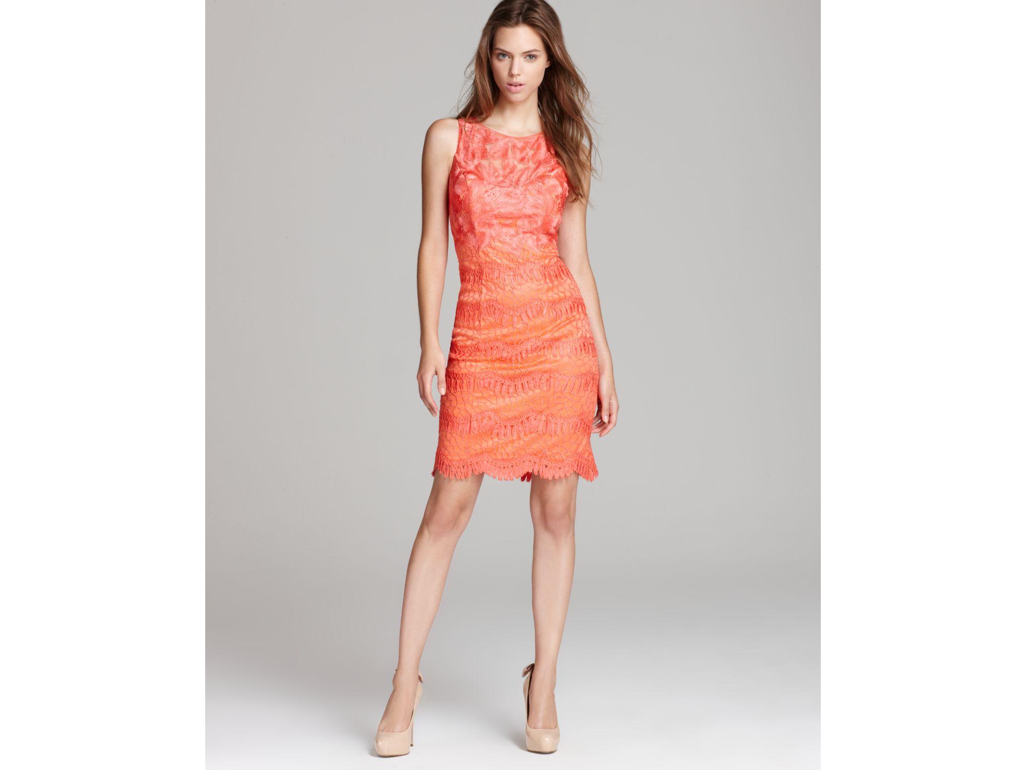 Sue Wong Short Dress Lace In Orange Lyst