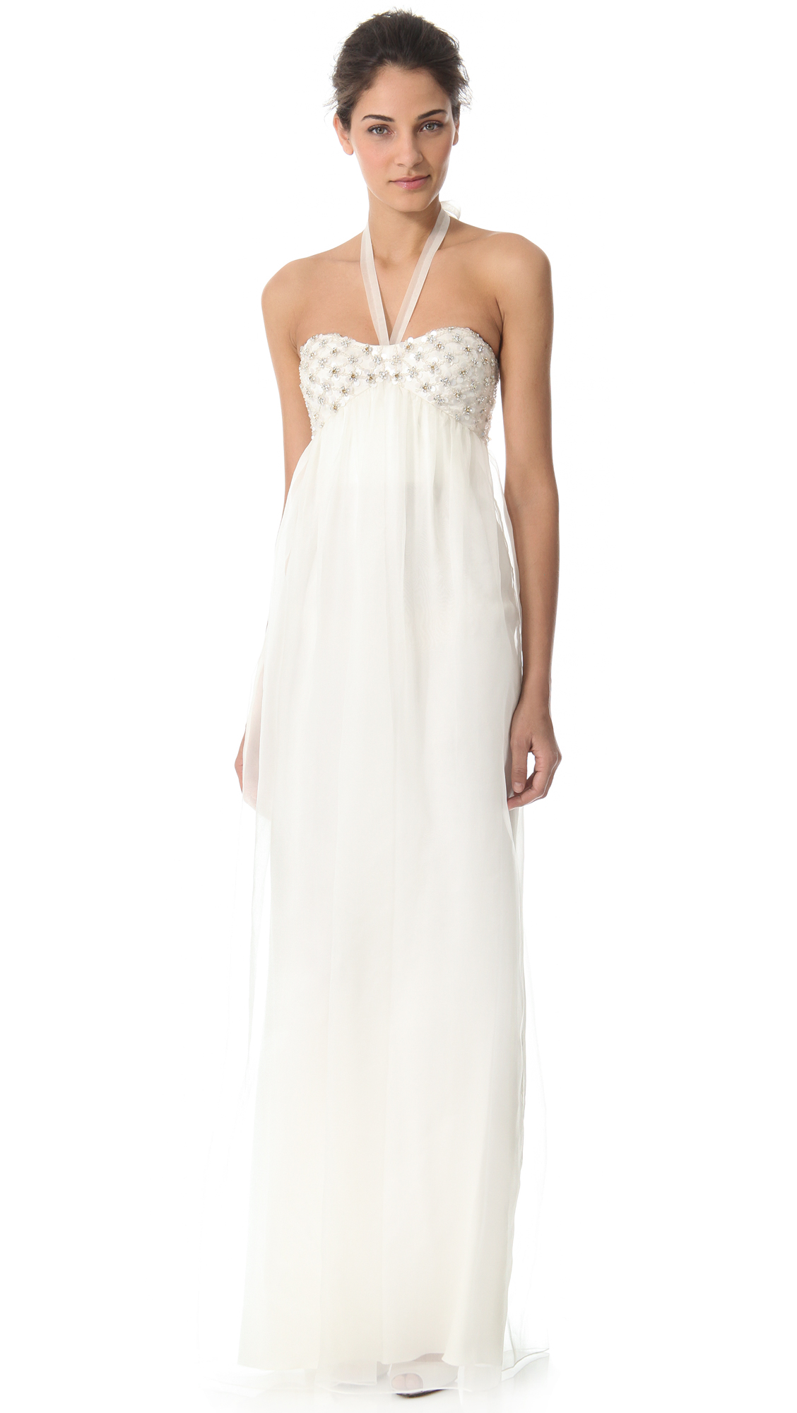 93caebb7a34a Temperley London Long Angeli Strapless Dress in White - Lyst