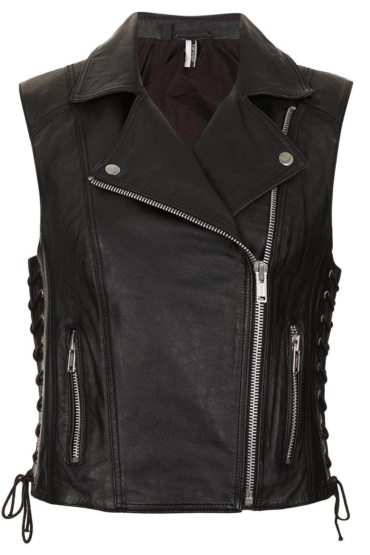 Topshop Sleeveless Leather Biker Jacket In Black Lyst