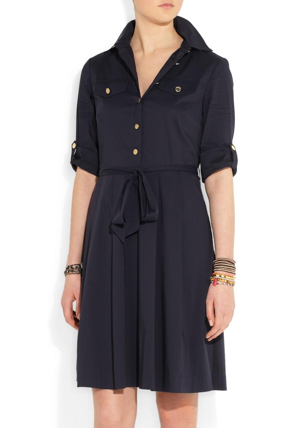 Tory burch blythe stretch cottonblend shirt dress in black for How to stretch a dress shirt
