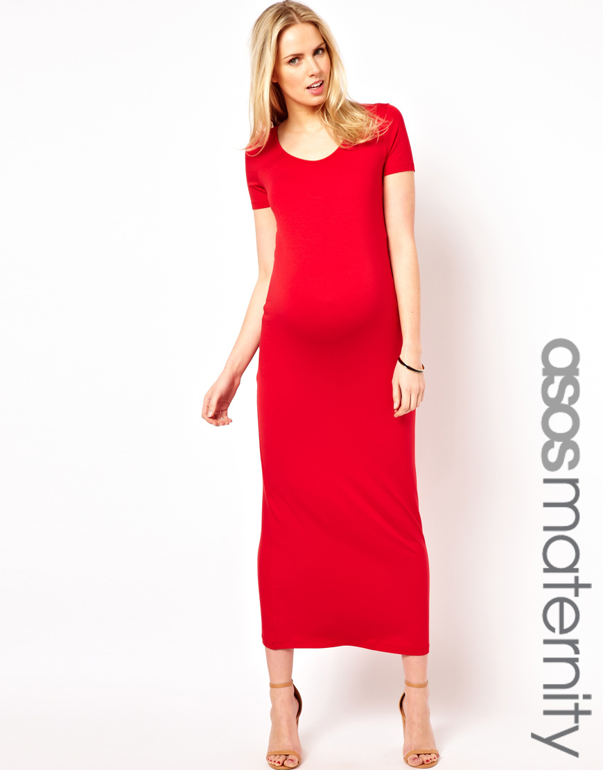 Ultimo maternity maxi dress with tshirt sleeve in red lyst gallery ombrellifo Choice Image