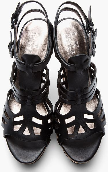 Belle By Sigerson Morrison Black Leather Art Deco Platform