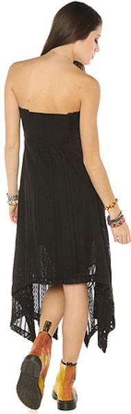 Free People The Lace High Low Strapless Dress In Black In