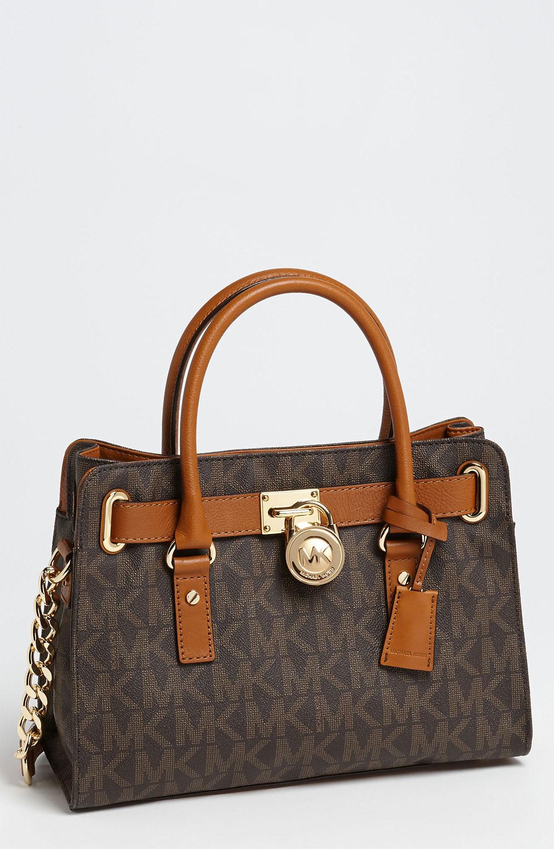 michael michael kors 39 hamilton 39 satchel in brown start of. Black Bedroom Furniture Sets. Home Design Ideas