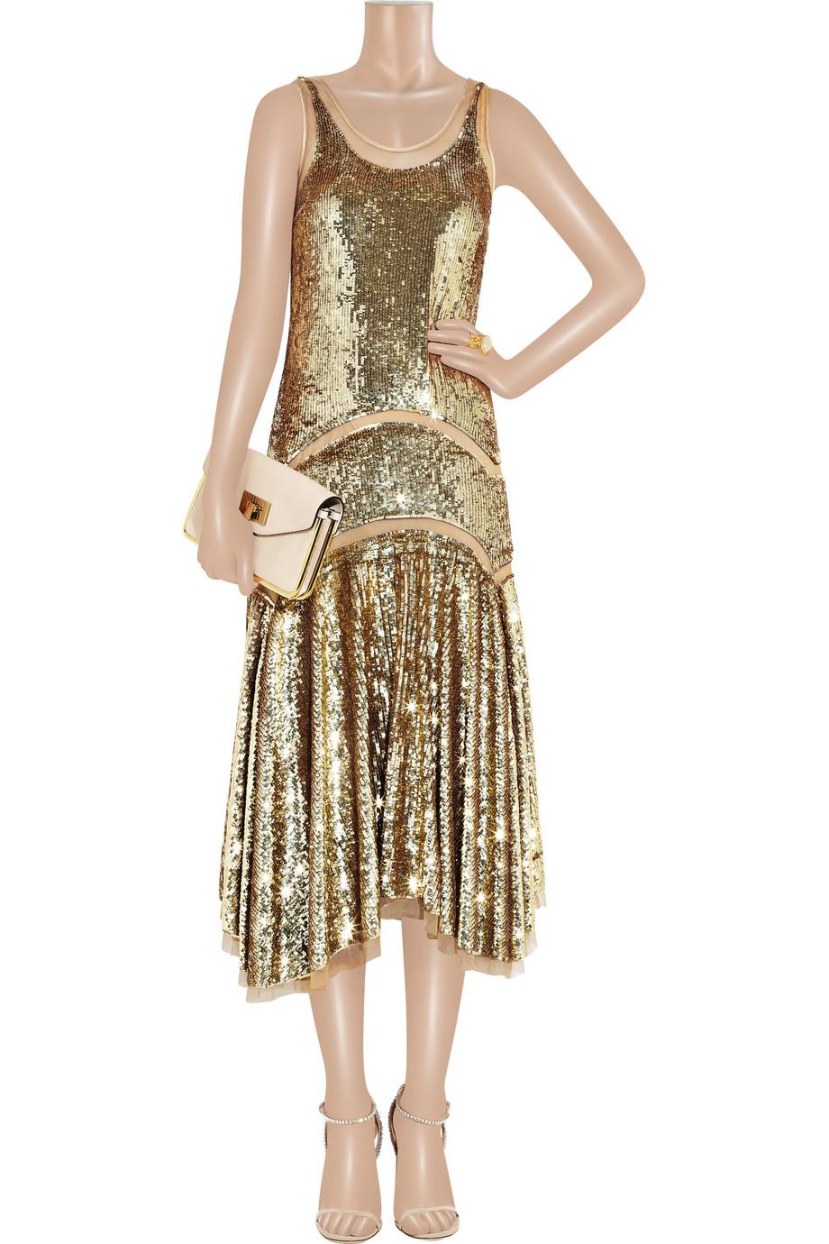 Michael Kors Sequined Midi Dress In Metallic Lyst