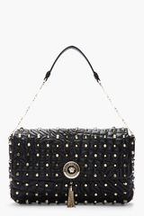 Versace Black Studded Quilted Leather Chainstrap Shoulder Bag