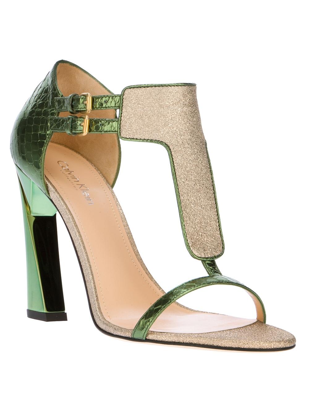 Calvin Klein Highheeled Sandal In Green Lyst