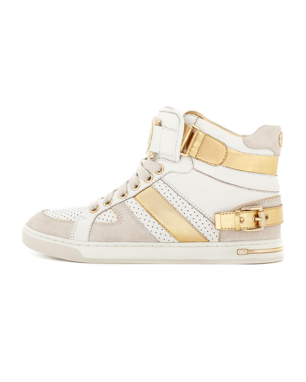 michael michael kors fulton metallic hightop sneaker in beige gold lyst. Black Bedroom Furniture Sets. Home Design Ideas