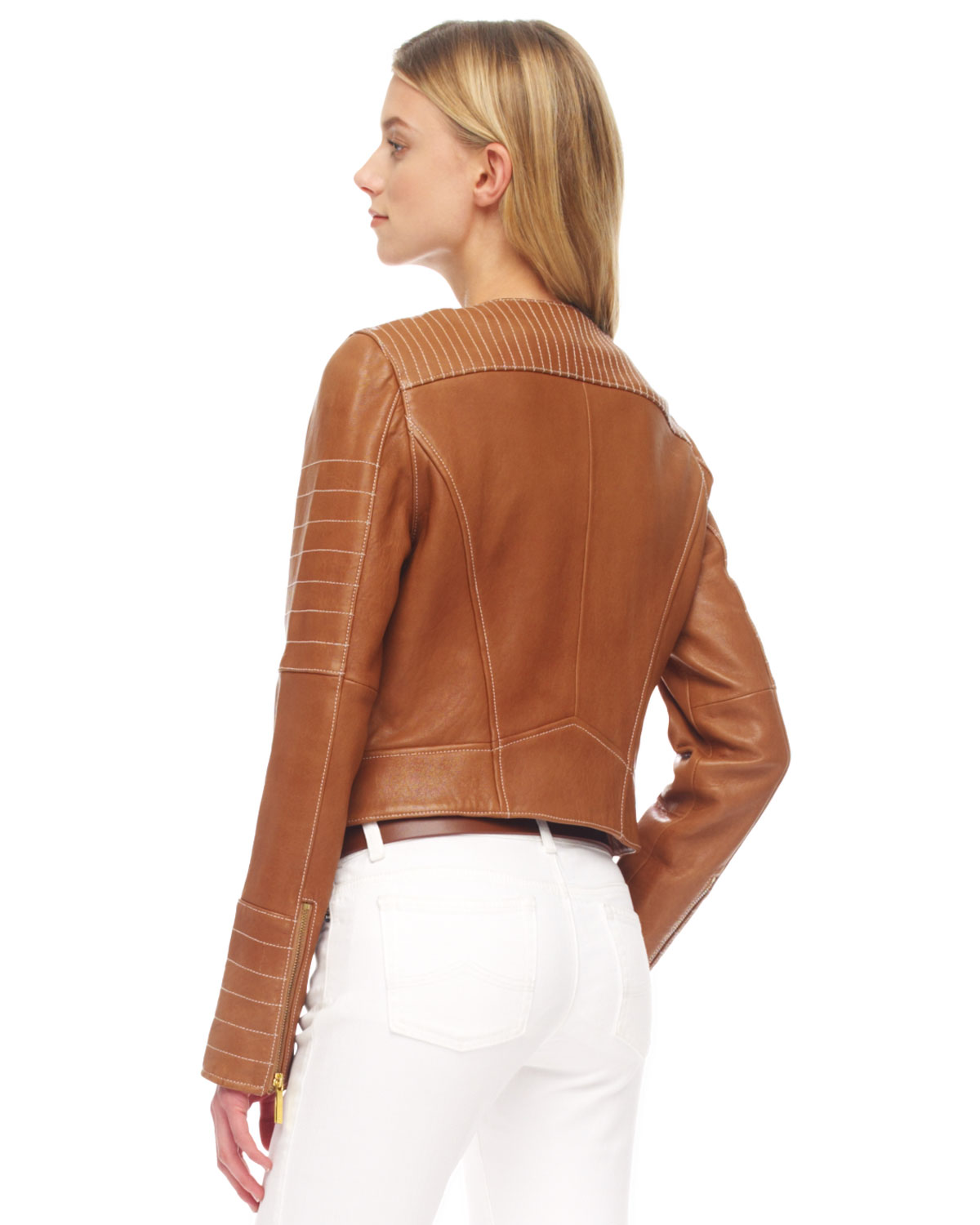 ad9a12097 MICHAEL Michael Kors Brown Quilted Leather Biker Jacket