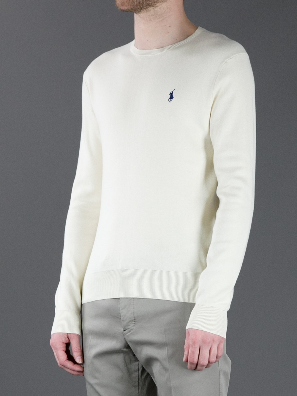 606a4d47ea158 ... france polo ralph lauren crew neck sweater in white for men lyst c5fa2  b82d6