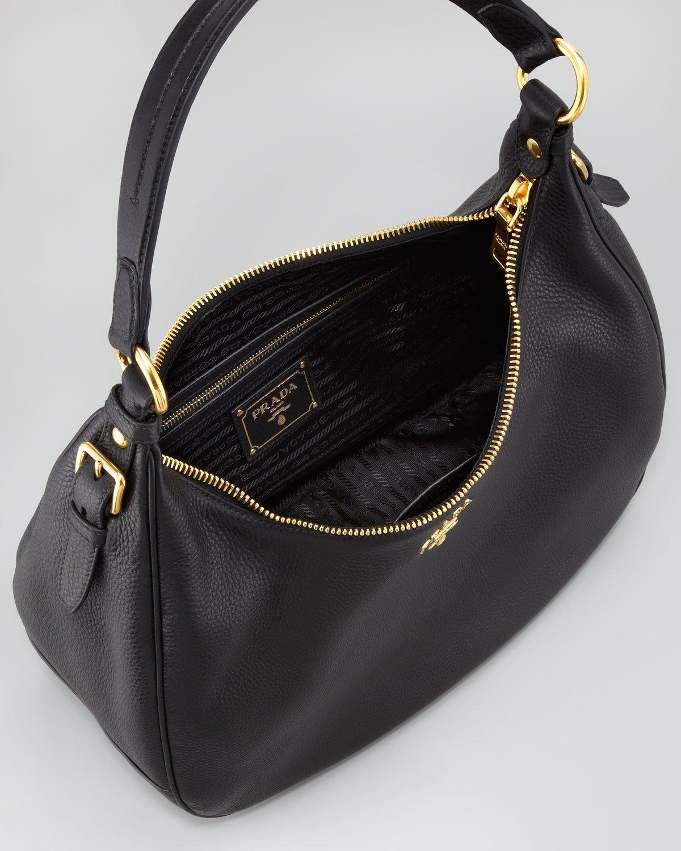 prada womens wallets - Prada Daino Ziptop Hobo Nero in Black (nero) | Lyst