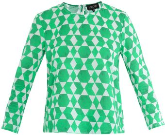 Saloni Marie Emerald-Print Top - Lyst