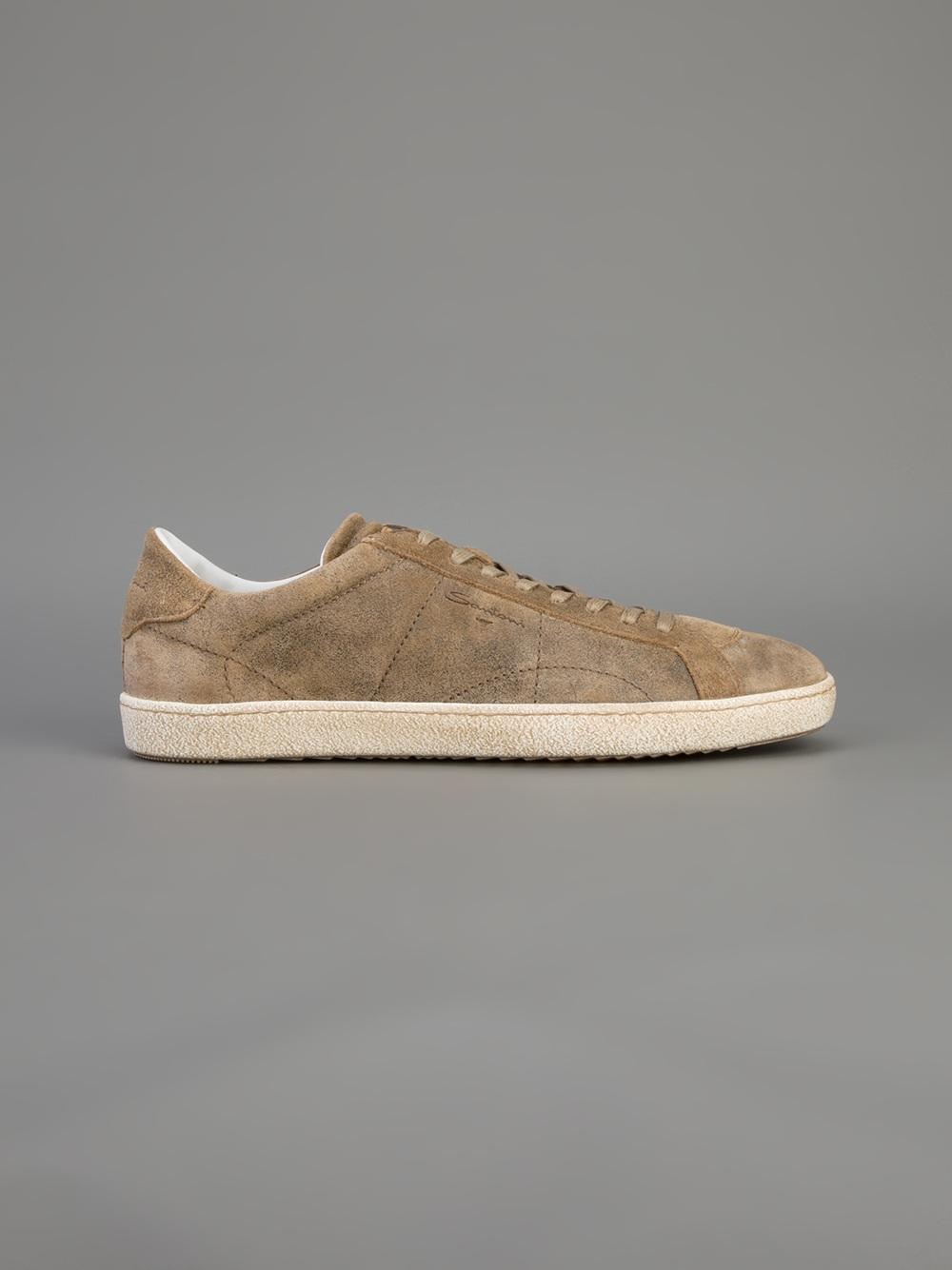 Santoni Suede Laceup Sneaker in Brown