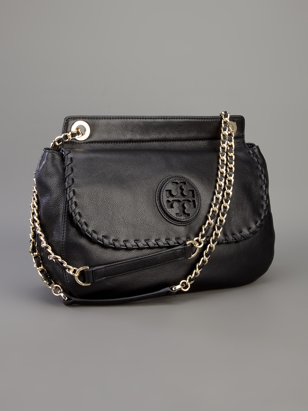 5269f48f27a1 Lyst - Tory Burch Marion Marion Saddle Bag in Black