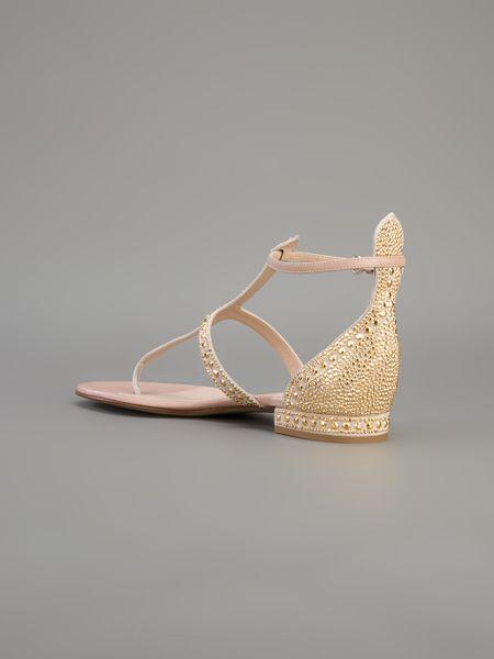 Valentino Embellished Sandal In Beige Nude