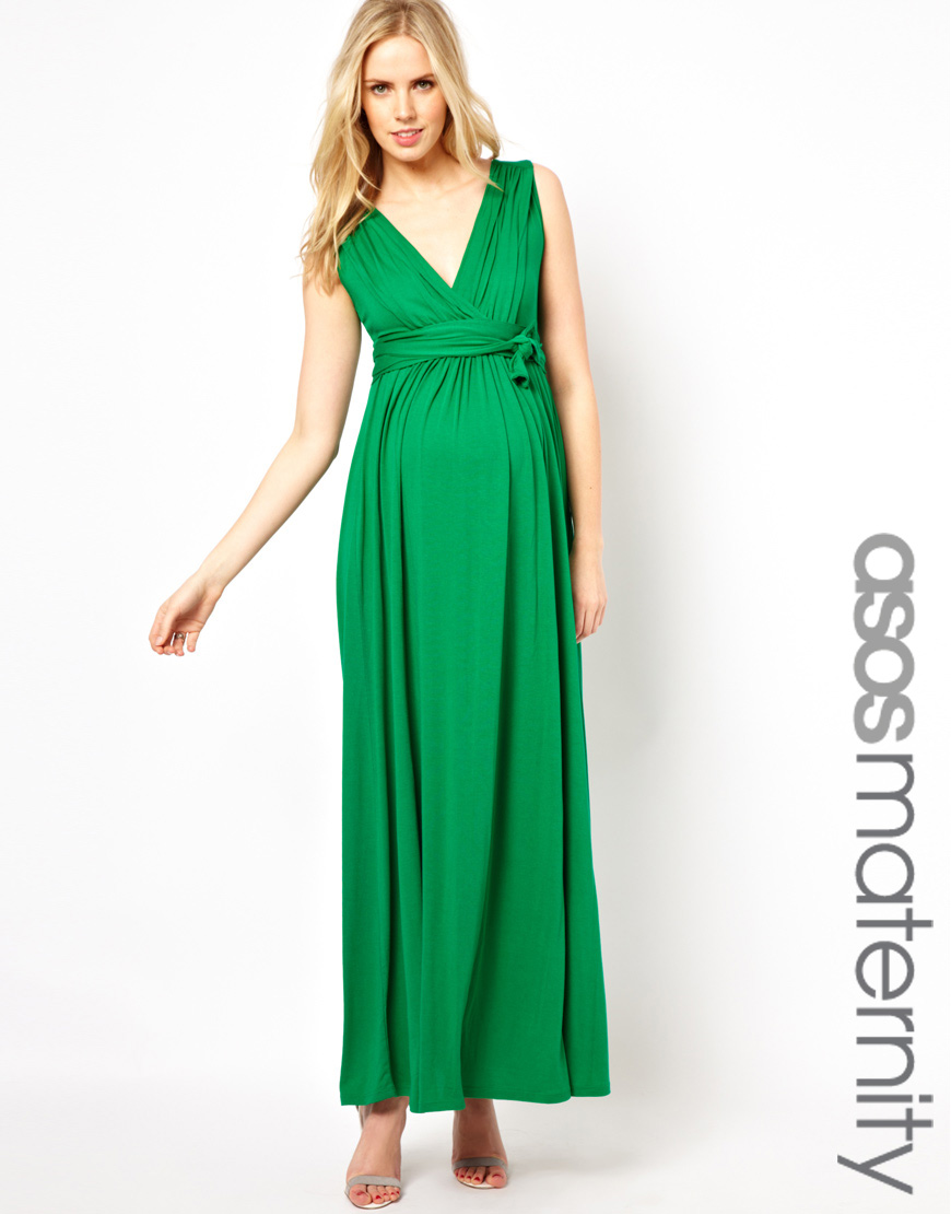 429dc4c692e Lyst - ASOS Maxi Dress with Grecian Drape in Green