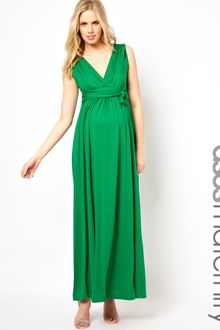 Grecian Dress on Asos Maternity Maxi Dress In Jersey With Grecian Drape Detail In Green