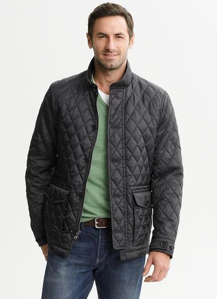 Banana Republic Quilted Black Jacket In Black For Men Lyst