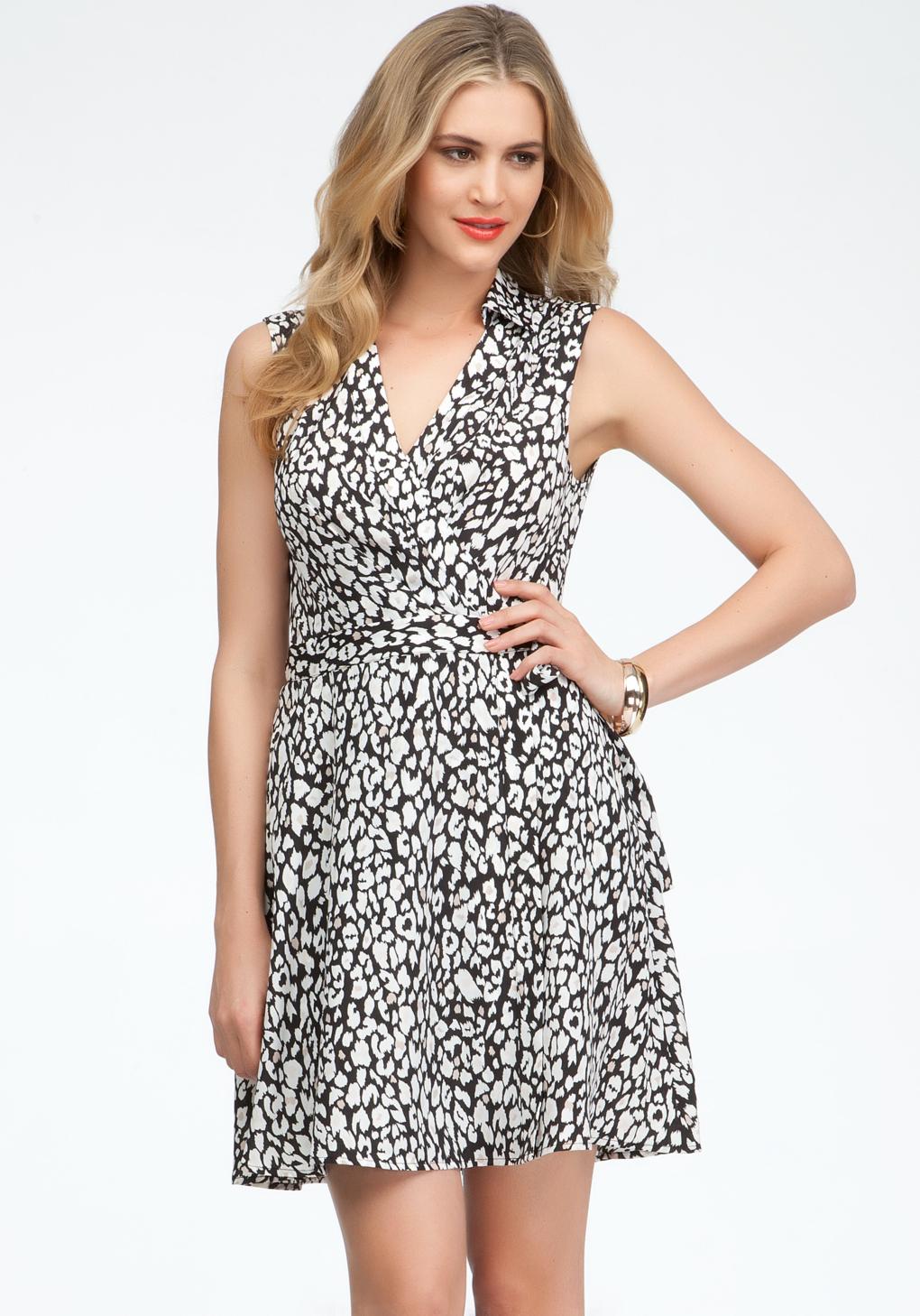 Bebe leopard print wrap dress lyst gallery ombrellifo Images