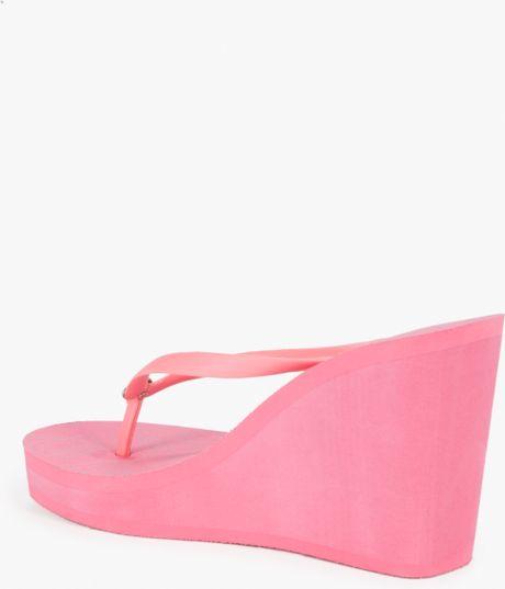 Bebe Logo Flip Flop Wedge In Pink Pink Lemonade Lyst